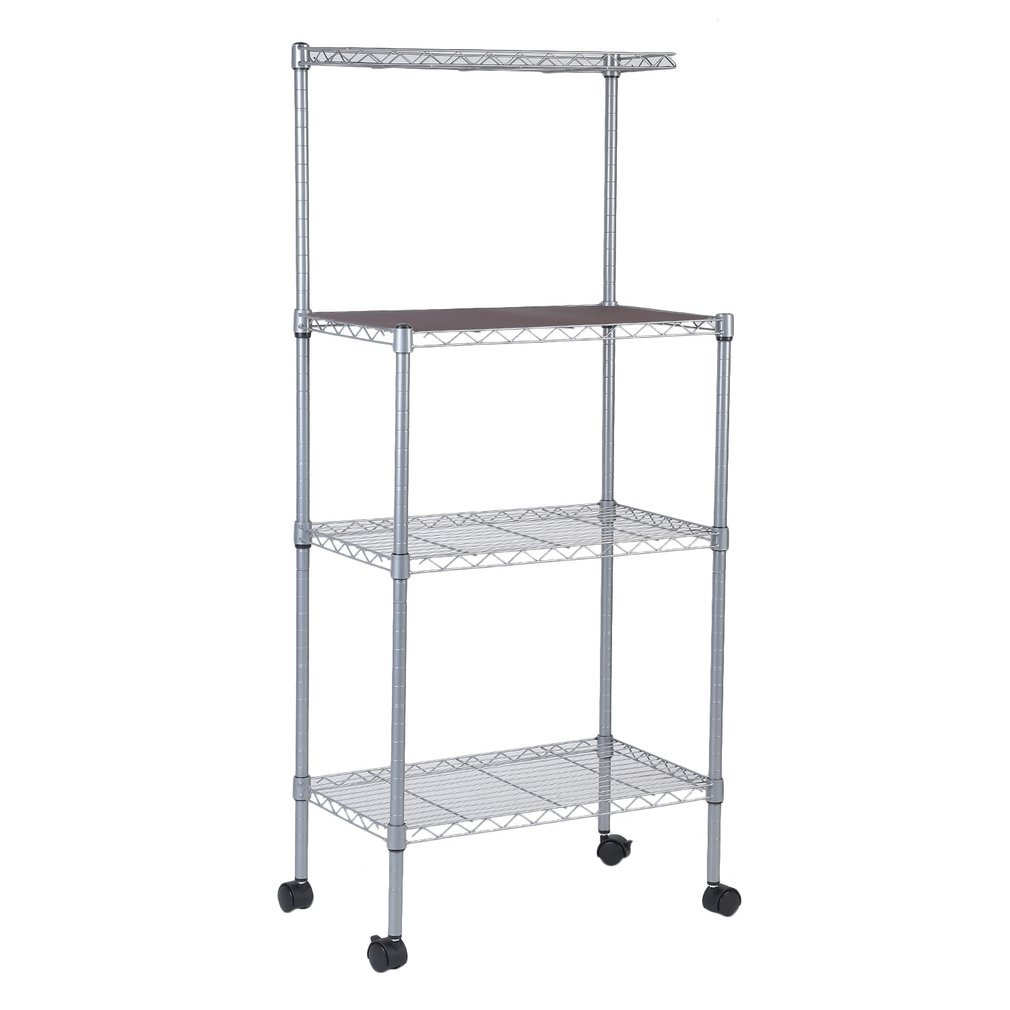 4-Tier Bakers Rack Microwave Stand Storage Rack, Adjustable Kitchen Bakers Rack Stainless Steel Microwave Oven Stand Household Storage Cart Workstation Shelf (Rack w/Wheels) by Holarose