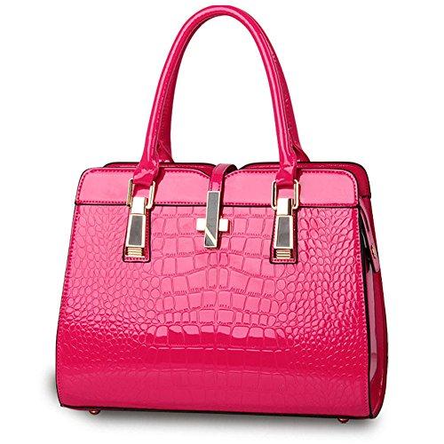 Qckj Fashion Cross Body One Shoulder Bag Modello Europeo In Pelle Pu Modello Coccodrillo Rosa Rossa