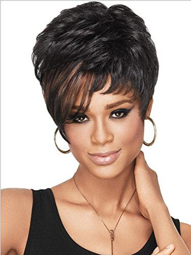 [2017 Trendy Popular Euro Modern Curly Short Women Full Wig for Black with Flower-like Fringe/Bangs , picture color] (Popular Female Halloween Costumes 2017)