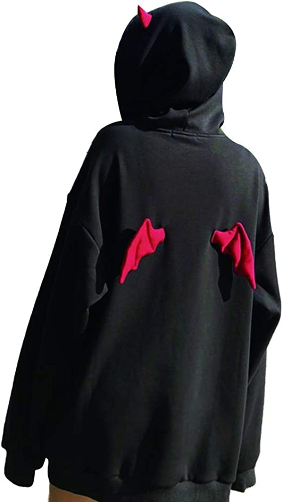 XIANGLIOOD Womens Gothic Devil Wings Long Sleeve Print Hooded Pullover Tops Sweatshirt