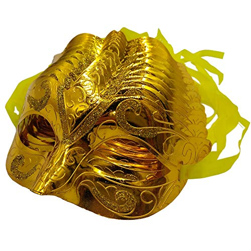 Arlai pack of 12 Mardi Gras Masquerade shining plated Party Masks (Gold)]()