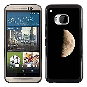 QCASE / HTC One M9 / Luna lado oscuro cielo cráteres paisaje universo / Delgado Negro Plástico caso cubierta Shell Armor Funda Case Cover