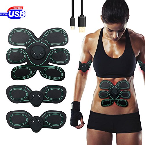 Maison-Market USB Rechargeable Abdominal Muscle Trainer EMS Abs Toner Fitness Slimming Body Sculptor Muscle Trainer Butterfly ab Belt Gym Massager Pad Abdominal Muscle Exerciser Belts Fat Burner