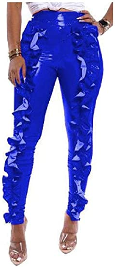 Tootess Womens Solid Colored Flouncing PU Skinny High Waist Sexy Pencil Pants