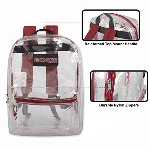 Clear Backpack With Reinforced Straps For School, Security, Sporting Events (Red)