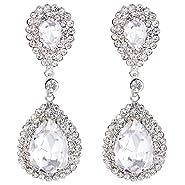 BriLove Women's Fashion Wedding Bridal Crystal Teardrop Infinity Beaded Dangle Earrings