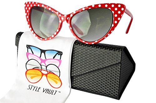 Wm508-ec Style Vault Cateye Sunglasses (S3235V Polka dots Red w/case, uv400)
