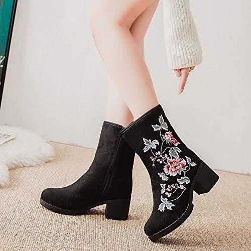 GaoXiao_ warme Stiefel mit reißverschluss reißverschluss reißverschluss hochhackigen Stiefeln Seite Bestickt a0993b