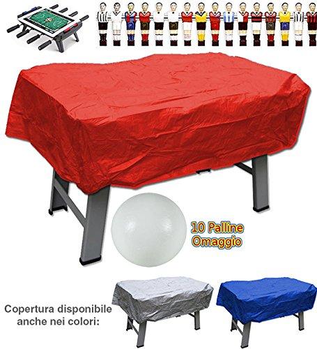grandeemporio Calcio balilla copertura in plastica rossa per interno ed esterno universale per ogni tipo di calcetto. Set di 10 palline in omaggio.