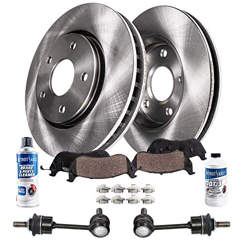 Detroit Axle - 8PC Rear Sway Bars, Rear Disc Brake Rotors, Ceramic Brake Pads w/Hardware & Brake Cleaner & Fluid for BMW X5 3.0si xDrive30i xDrive35d xDrive35i X6 xDrive35i - CHECK FITMENT