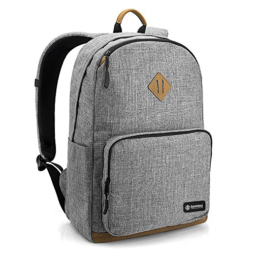 Laptop Backpack, tomtoc 15.6 inch unisex backpack school bag for commuting, lightweight multi-purpose travel bag college backpack 22L, anti-theft pocket, Gray - PowerPortal Patent Supported by Tomtoc