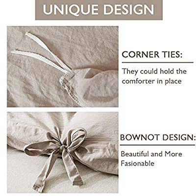 annadaif Giveuwant Duvet Cover Set King(104x90 Inch), 3 Pieces Khaki Ultra Soft Washed Cotton Butterfly Bow tie Bowknot Duvet Cover Set, Easy Care Bedding Set for Men, Women: Home & Kitchen