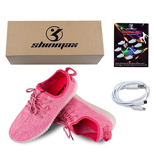 Scarpe USB CE Carica con Certificato Partito per Il Tennis Promenade di Scarpe con Luci Shinmax Colori Unisex 8 di Regalo del Lampeggiante del Rosa da LED Giorno Natale 7 tgx1qcEwd