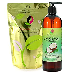 Flawless Faces Fractionated Coconut Oil in Large Dark 16 Ounce Bottle and Lotion Pump