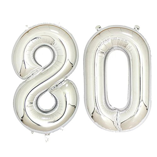 40 inch Jumbo Silver Number Balloons for Birthday Party, Anniversary Decoration … (Silver80)