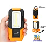 Handheld LED Work Light Magnetic COB LED Flashlight with High Brightness Strong Magnetic Base Hanging Hook Battery Included for Outdoor Camping, Fishing, Hiking Emergency (Orange)