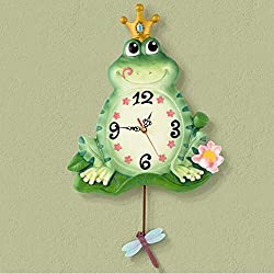 MOM Home Office Vintage Mute Metal Accurate 12 inch Creative Stylish Modern European-Style Children's Room Clock Resin Mute Frog Clock Wall Decoration