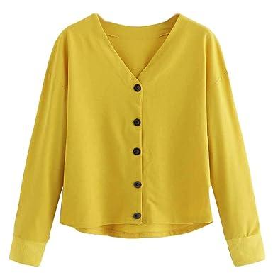 4b13a5f967de ESAILQ Fashion Women Button Casual Top T Shirt Long Sleeve Short Top Bloue Womens  Clothes Sale Clothes Shops Womens Clothing Online Ladies Clothes Clothing  ...