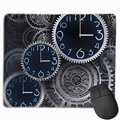Mouse Pad Artistic Clocks Creative Illustration Rectangle Rubber Mousepad 11.81 X 9.84 Inch Gaming Mouse Pad with Black Lock Edge
