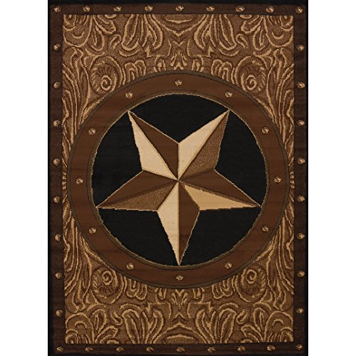 Earthy Western Ranch Star Pattern Area Rug, Chic Geometric Revolving Dots Themed, Rectangle Indoor Hallway Doorway Living Area Bedroom Cabin Carpet, Rustic Vintage Country Style, Tan Size 6'6 x 9'10