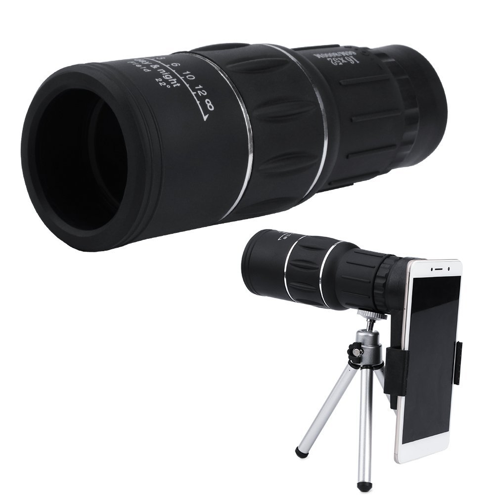 Monocular Telescope 16X52 High Power Waterproof Monocular Scope Phone Lens with Adapter Holder and BAK4 Prism Scope for Wildlife Scenery, Bird Watching, Horse Racing, Hunting and Camping