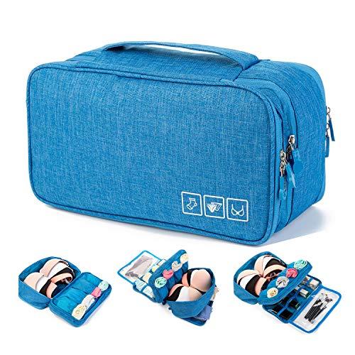 Price comparison product image MODARANI Packing Organizer Travel Bra Underwear Sock Case Makeup Bag Laundry Bag Blue