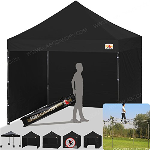 ABCCANOPY Commercial 10x10 Instant Canopy Craft Display Tent Portable Booth Market Stall with Wheeled Carry Bag & Full Walls , Bonus 4x Weight Bag & 10ft Screen Wall & 10ft (Raiders Canopy)