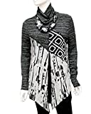 Lior Luxe Women's Grey and Black Multi-Texture Long Sleeve Turtle-Neck Tunic .