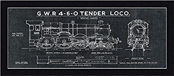 Amazon framed train blueprint iii in black 20x8 art print framed train blueprint iii in black 20x8 art print poster wall decor locomotive gwr malvernweather Choice Image