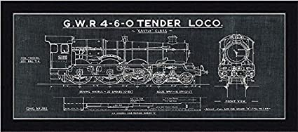 Amazon framed train blueprint iii in black 20x8 art print framed train blueprint iii in black 20x8 art print poster wall decor locomotive gwr malvernweather Image collections
