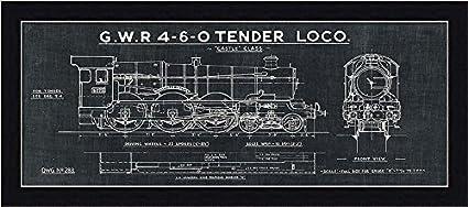 Amazon framed train blueprint iii in black 20x8 art print framed train blueprint iii in black 20x8 art print poster wall decor locomotive gwr malvernweather Choice Image