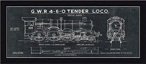 Amazon framed train blueprint iii in black 20x8 art print amazon framed train blueprint iii in black 20x8 art print poster wall decor locomotive gwr 4 6 0 tender loco castle class posters prints malvernweather Image collections