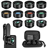 Phone Camera Lens,11 in 1 Cell Phone Lens Kit for iPhone and Android, 0.36X Wide Angle...