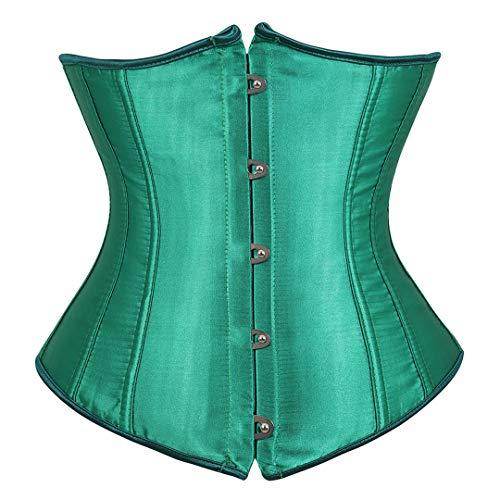 Kranchungel Women's Vintage Underbust Corset Bustier Waist Cincher Bodyshaper Large Green