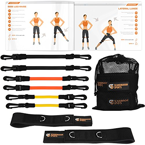 Leg Resistance Bands - Agility & Speed Bands Training Set - Running Training Equipment for Increased Leg/Muscle Strength, Speed Level, Quickness Bonus Folder with 12 Workout Exercises