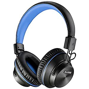 BestGot Headphones with microphone over ear headphones 50mm Stereo driver In-line Volume Hi-Fi Foldable Headphones with 3.5mm plug removable cord for PC/Cell Phones (Black/Blue)