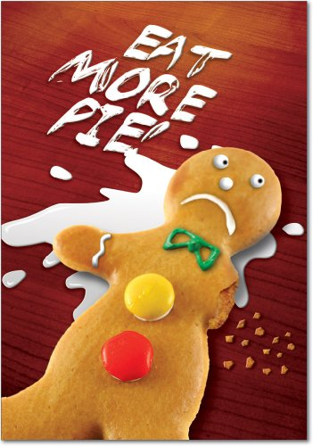 12 'Eat More Pie' Boxed Christmas Cards with Envelopes 4.63 x 6.75 inch, Hilarious Gingerbread Man Holiday Notes, Silly Cookie Christmas Cards, Funny Christmas Stationery ()