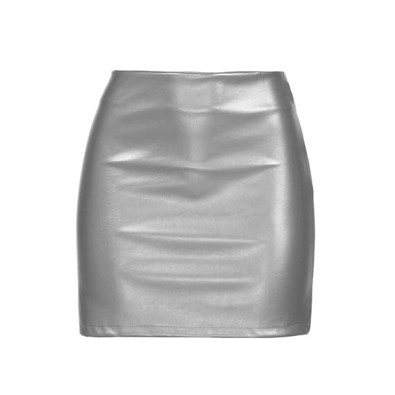 Falda Mujer, Falda Casual para Mujer Falda De Cuero Brillante con ...