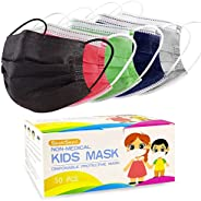 Kids Disposable Face Masks, Children 3-Ply Breathable Safety Masks, Protective Mask with Elastic Earloops for