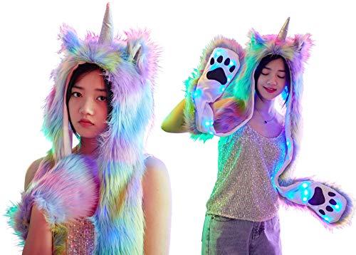 Light Up LED Color Changing Rave Spirit Animal Fluffy Fur Hat Hood (Rainbow Unicorn) -