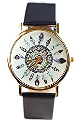 Geneva Watch Peacock Feather Decor Watches Leather Quartz Watch for Women Lady Dress