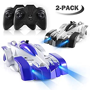 iFixer Remote Control Car Set, Pack of 2 RC Combat Car Rechargeable Climbing Car with Mini Control Dual Mode 360° Rotating Stunt Car LED Head Gravity-Defying for Kids Boys Girls