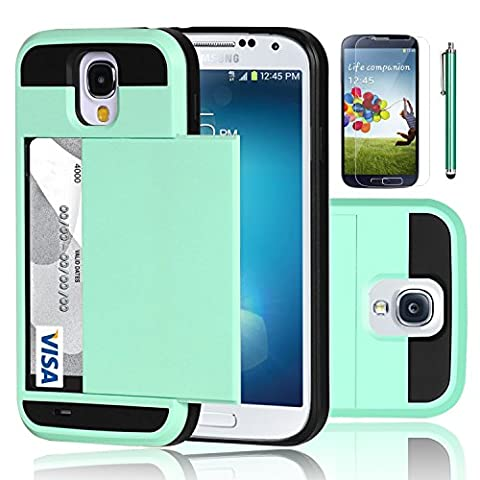 Galaxy S4 Case, EC™ Samsung Galaxy S4 Wallet Case, Hybrid High Impact Resistant Protective Shockproof Hard Shell with Card Holder Slot Cover for Samsung S4 IV I9500 (Galaxy S4 Cases With Card Holder)