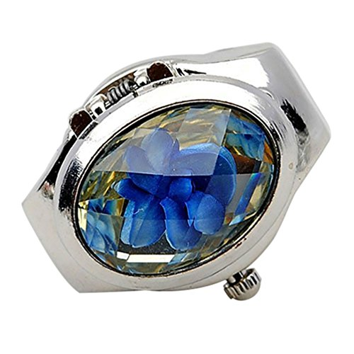Ameesi Women's Fashion Luxury Rhinestone Ring Watch Oval Cover Mini Quartz Watch - Blue Pack of 1 from Ameesi