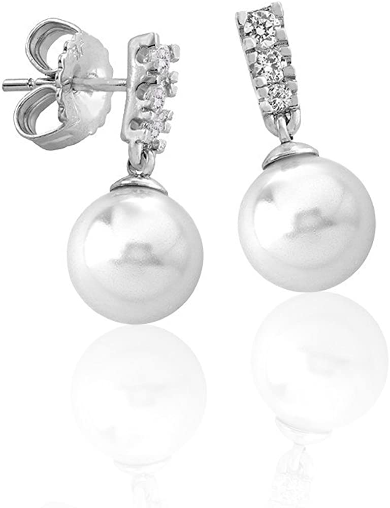 Majorica Pendientes de botón Mujer chapado en plata - 15317.01.2.000.010.1