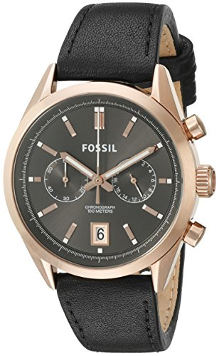 Fossil Men's CH2991 Del Rey Chronograph Leather Watch -Black