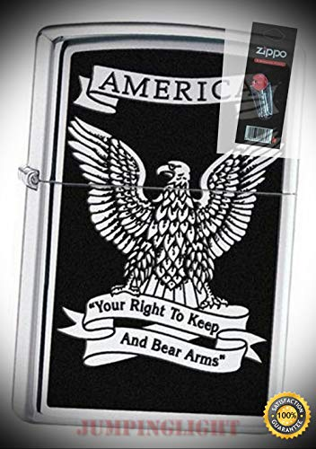 28290 Eagle Right to Bear arms hp Chrome Lighter with Flint Pack - Premium Lighter Fluid (Comes Unfilled) - Made in USA!
