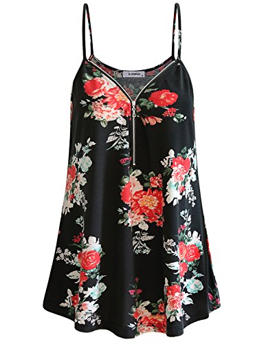 - Ladies Tank Tops, Womens Sleeveless Shirt Basic Comfy Lightweight Hi-Low Curved Hem Bohemian Exotic Vintage Printed Babydoll Cami Tank Tops Floral Print Black XL
