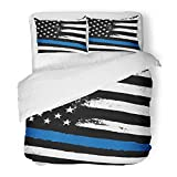 Emvency Bedding Duvet Cover Set Twin (1 Duvet Cover + 1 Pillowcase) America Thin Blue Line Black Flag with Police Closeup Raster Glory Hero Honor Hotel Quality Wrinkle and Stain Resistant