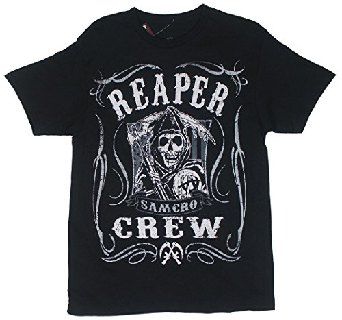 Sons Of Anarchy Reaper Crew Scroll Samcro Adult T-Shirt L (Sons Of Anarchy Shirt)